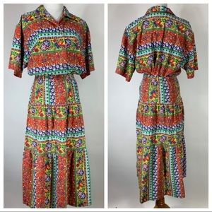 2 Pc Skirt Set Bright 70s 80s Retro Peasant Large